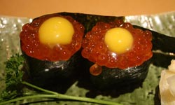 flying-fish-roe-with-quail-egg